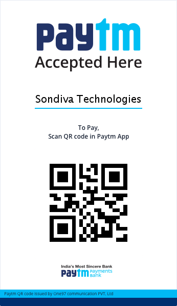 Pay to Sondiva Technologies by Paytm